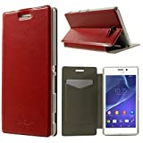 Dulcii Xperia M2 Aqua Case, Crazy Horse Texture Folio Leather Card Holder Stand Cover w/ Free Screen Protector Film for Sony Xperia M2 Aqua, With Retail Package - Red