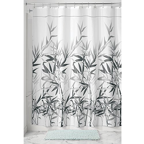 mdesign-bamboo-leaf-fabric-shower-curtain-stall-54-x-78-gray