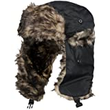 LADIES/MENS/YOUTH WATERPROOF PILOT STYLE TRAPPER HAT IN BLACK WITH FAUX FUR
