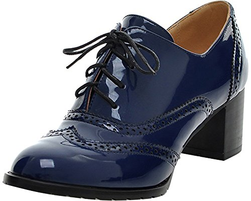 Women's Oxford Shoes BEAUTOSOUL-Patent Leather-Mid-heel Dress Pumps Blue Size 7.5