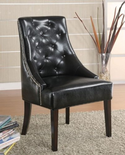 Accent Lounge Chair with Button Tufted Back in Black Faux Leather