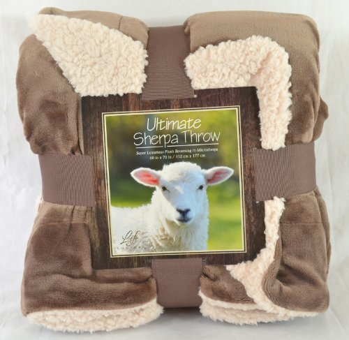 Ultimate Sherpa Throw Blanket 60 In X 70 In (Brown)