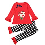 Baby Elk Christmas Suit, Misaky Print T-Shirt +Dot Pants Outfits Set (24M, red)