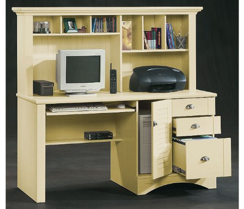 Antiqued Cream Computer Desk with Hutch Harbor View Antique Cream Collection by Sauder Office Furnit