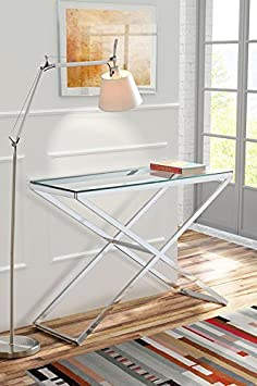 My-Furniture Annika Guéridon en verre et en chrome Design moderne