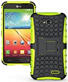 Heartly Flip Kick Stand Spider Hard Dual Armor Hybrid Bumper Back Case Cover For LG L70 D325 Dual Sim - Mobile Green