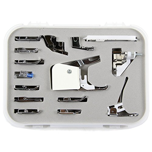 MacDoDo Professional Sewing Machine Presser Walking Foot Kit (15 pcs) for Brother, Babylock, Elna, Janome, Kenmore, Necchi,New Home, Pacesetter, Singer, Sewing Machine and Low Shank Sewing Machines (15 Piece Sewing Machine Foot compare prices)