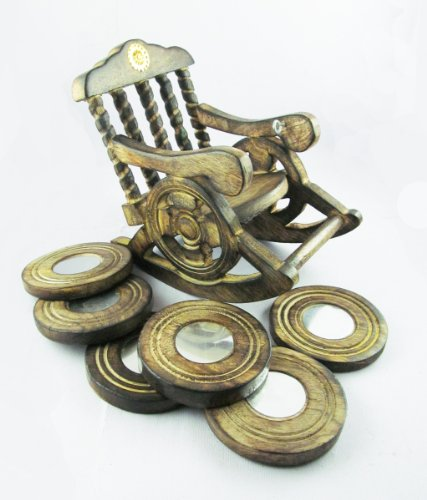 Pindia Beautiful Miniature Rocking Chair Design Wooden Tea Coffee Coaster Set