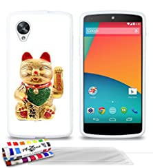 buy Genuine Extra-Slim Flexible White Case Maneki Neko Japan By Muzzano For Google Nexus 5 + 3 Ultraclear Screen Protector