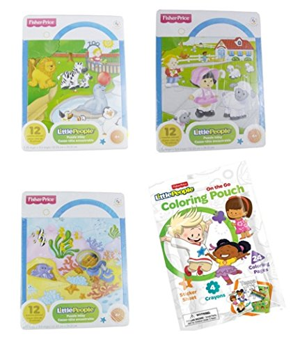 Fisher Price Little People 4 piece bundle including 3 12-Piece Jigsaw Puzzles and a Little People on the go Coloring Pouch (Fisher Price Little People Puzzle compare prices)