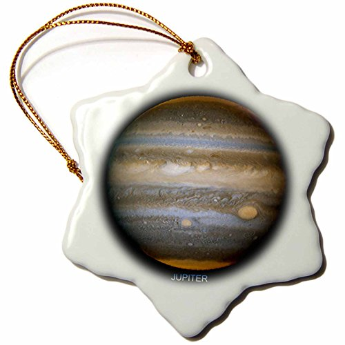 3dRose orn_76845_1 Solar System-Jupiters New Red Spot-Snowflake Ornament, 3-Inch, Porcelain