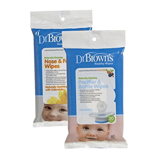 Dr. Brown's Nose and Face Wipes - 30 Pk PLUS Pacifier and Bottle Wipes - 30 Pk