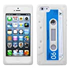 Clear White Retro Cassette Tape Skin Apple iPhone 5 Rubber Silicone Cover Case fits Sprint