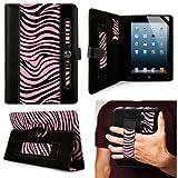 Black plus Pink Zebra Portfolio Jacket Cover Case for iPad MINI Multi-Touch (ALL MODELS)