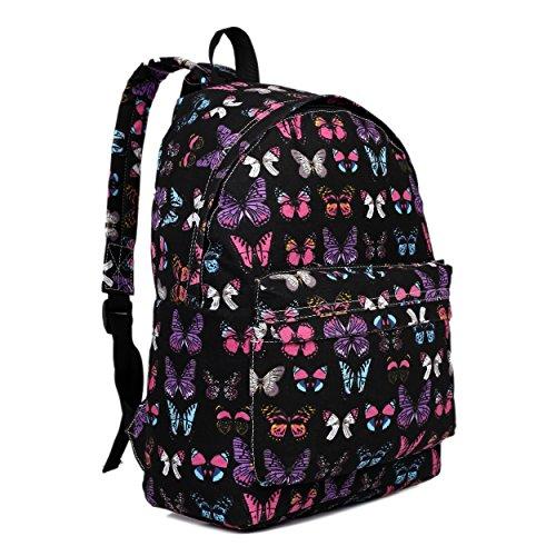 Butterfly Flower pois Retro Galaxy Fashion Zaino, (Butterfly Black),