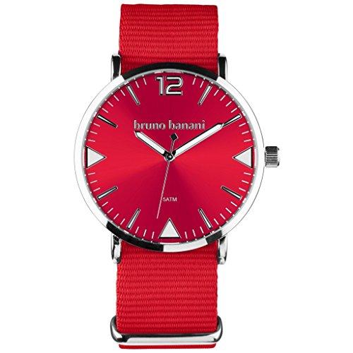 Bruno Banani Homme Montre bracelet pour femme + Charm Fée-Textile/Nylon-Bracelet Rouge à quartz cadran rouge ubr30055
