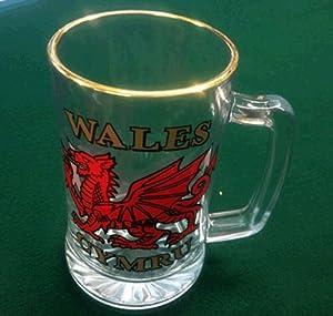 Wales Welsh Dragon Glass Tankard