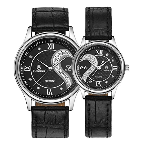 Fq-102 Ultrathin Leather Romantic Crystals Pair Fashionable Wrist Watches for Couples Man Woman Black Set of 2 Pcs