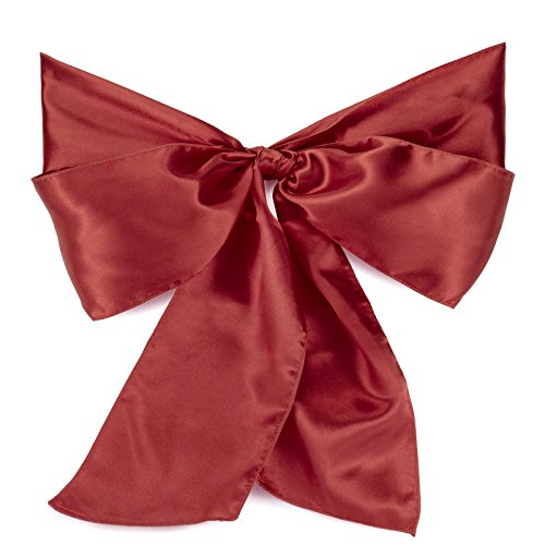 Lann's Linens - 100 Satin Chair Cover Bow Sashes - for Wedding or Party Use - Burgundy
