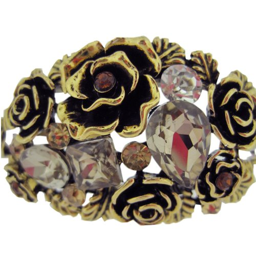 LovingtheBead © Pretty Hinged Cuff Bangle With Gold, Amber And Clear Crystals