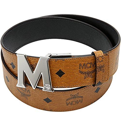 100% Authentic MCM Visetos Round Reversible Belt M Buckle Cognac Black / MXB3SVI33BK