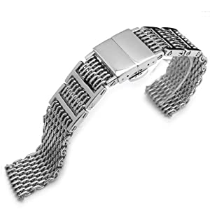 "19mm or 20mm Flexi Retro Ploprof ""SHARK"" Deployant Mesh Band, Polished 316L Stainless Steel"