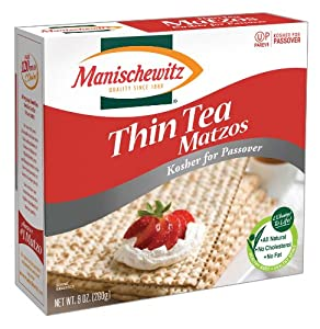Manischewitz Thin Tea Matzo, Kosher for Passover 9 Ounce Boxes (Pack of 6)