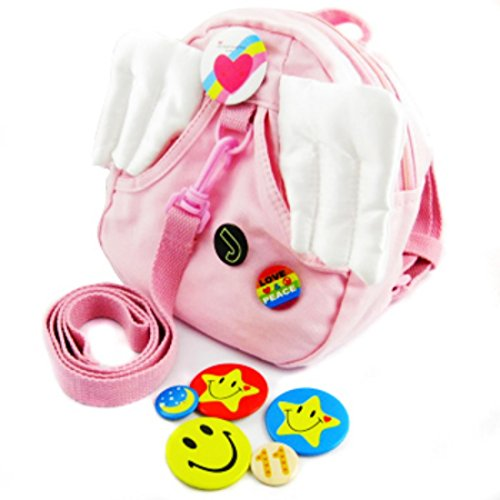 KF Baby Safety Backpack Harness, Angel Wings - Pink + 8 Pinback Buttons - 1