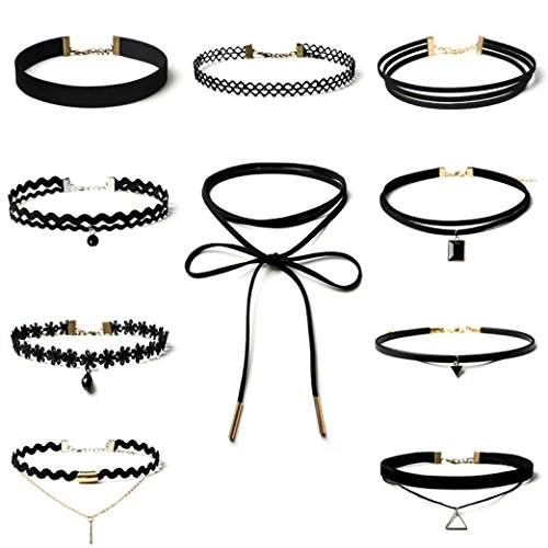ularma-10-stuck-kurze-halskette-set-schwarz-stretch-klassische-gotische-tattoo-spitze-kette-ohne-anh