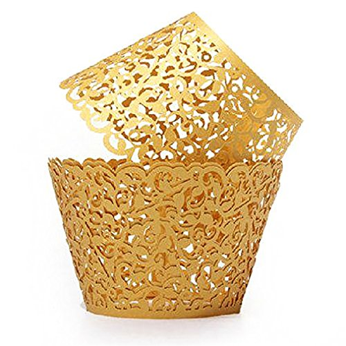 Cupcake Holders,Amytalk 50Pcs Hollow Carving Decor Wrapper Wraps Cupcake Muffin Paper Holders (Gold)