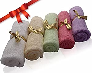 Bamboo Baby Washcloths by AngelicWare. Luxury Organic Towels / Wipes - Perfect Gift. Super Soft, Thick and Gentle on Sensitive Skin - 10