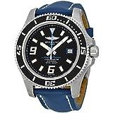 Breitling Superocean 44 Mechanical Black Dial Blue Leather Mens Watch A1739102-BA79BLLT