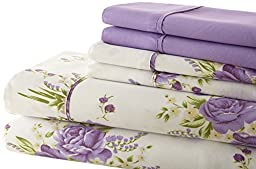 Spirit Linen Hotel 5Th Ave Palazzo Home 6-Piece Luxurious Printed Sheet Set, Queen, Lavender Floral