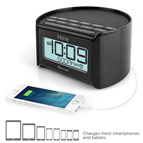 iHome iBT230 Bluetooth Bedside Dual Alarm Clock Radio with Speakerphone, USB Charging and Line-in (Black)