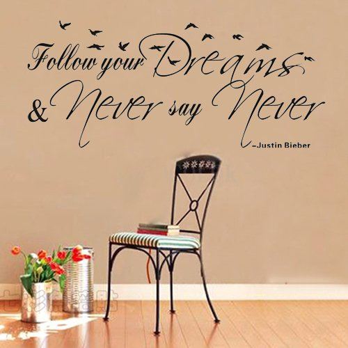 """Colorfulhall 21.7"""" X 47.2"""" Justin Bieber Follow Your Dreams Never Say Never Wall Quote Saying Wall Sticker Decor Removable Vinyl Room Home Decoration Mural Art front-681526"""