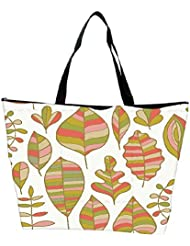 Snoogg Colorful Leaves White Designer Waterproof Bag Made Of High Strength Nylon