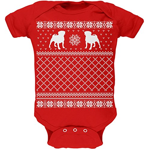 Pug Ugly Christmas Sweater Red Soft Infant Bodysuit - 6 Month