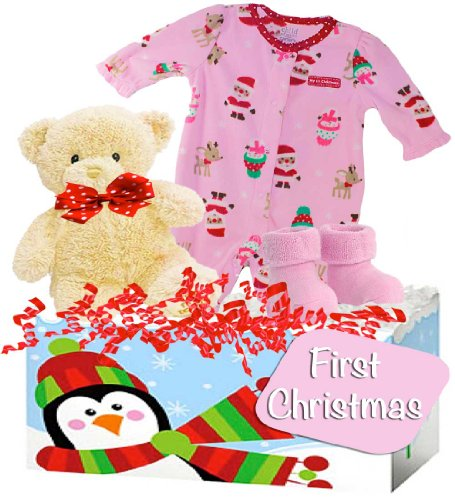 "Baby Boutique, Baby's First Christmas, Baby Girl Gift Basket featuring Carter's ""So Cozy"" Footed Sleeper, Size: 0-3 months - 1"