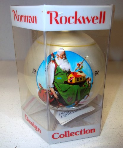 Grossman Produced, Norman Rockwell Inspired Glass Christmas Ball 1980, Santa's Workshop