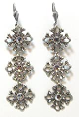 Anne Koplik Designs Vintage Style 3-Tier Filigree Flower Dangle Earrings with Clear Swarovski Crystal Accents