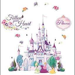 Blue Mountain Wallcoverings DMM2503 Princess Castle Self-Stick Mini Wall Mural 36-Inch by 40-Inch
