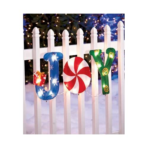KNLSTORE 3 Pc. Wall Mounted or Stake in Ground JOY Gift Present Box White Red Green Blue Gold Snowflake Star Swirl Peppermint Design Versatile Lighted Holiday Yard Decor Pre Lit Hanging Fence Deck Rail Christmas Lights Outdoor Decoration