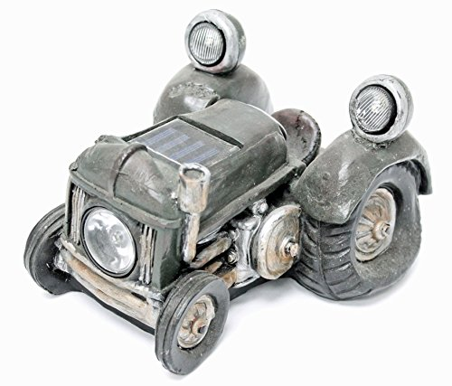 Solar Powered Vintage Tractor Vehicle Garden Decor and Path Light - Use Sun Energy for Low Voltage Landscape Accent LED Light - Unique Landscaping Lighting Designs by Perfect Life Ideas