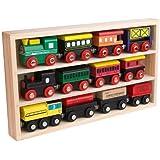 12 Pcs Wooden Engines & Train Cars Collection fits Thomas, Brio, Chuggington