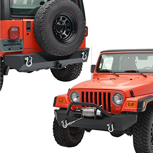 X-restyling Black Textured Front Bumper and Combo for Jeep Wrangler YJ TJ