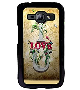 Printvisa Brown Background Love Quote Back Case Cover for Samsung Galaxy J1::Samsung Galaxy J1 J100F