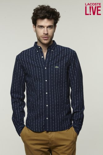 L!VE Long Sleeve Indigo Print Denim Shirt