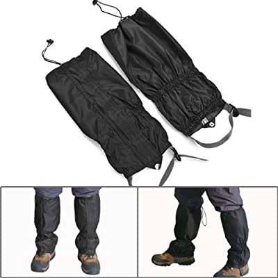 Fashion Black Double Sealed Velcro Zippered Riding Waterproof Leggings Cover Leg Gaiters 400D Nylon Cloth Closure TPU Strap Leg Gator Cycling Skiing Hunting Hiking Climbing Protective Gear Cover