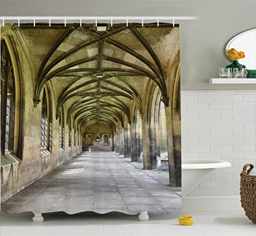 Ambesonne Apartment Decor Collection, Paved Stone Walkway with Gothic Arches Receding Into Distance Arched Windows Portals, Polyester Fabric Bathroom Shower Curtain, 84 Inches Extra Long, Charcoal (Portal Bath Tubs compare prices)