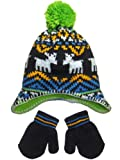 Boys Baby Infant Toddler Reindeer Fairsle Winter Hat and Mitten Set by Carters - Blue - 12-24 Mths
